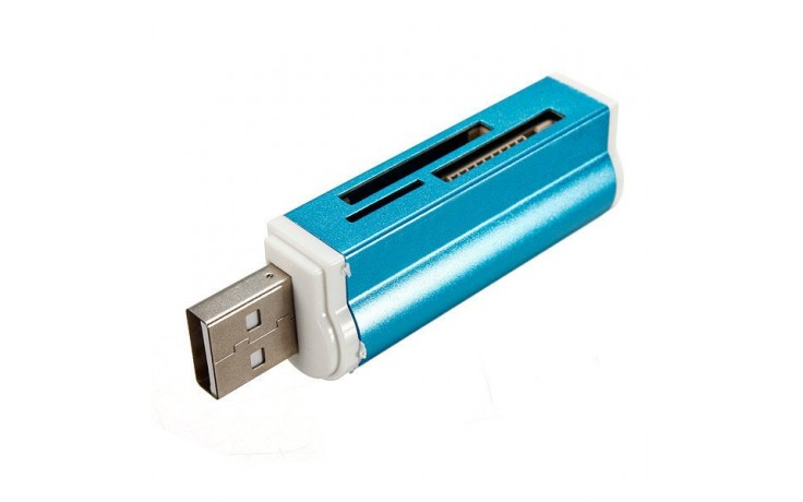 Kaartlezer all-in-1 USB 2.0 voor MicroMS M2 SD MMC SDHC DV MS Duo MS Pro Duo Micro SD T-Flash geheugenkaarten / Blauw