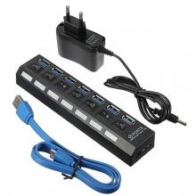 USB 3.0 Hub Station met 7x USB aansluiting met eigen stroomtoevoer + USB kabel / Zwart