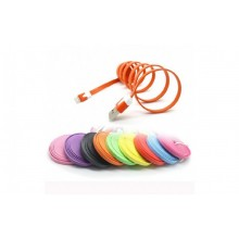 Oranje Flat Noodle Lightning Data kabel 1 meter voor iOS naar USB 1m Premium