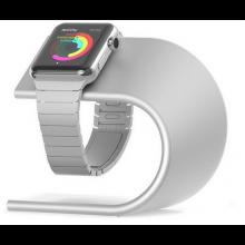 Houder aluminium Luxe voor Apple Watch iWatch oplader / Standaard voor smartwatch Cradle / Zilver