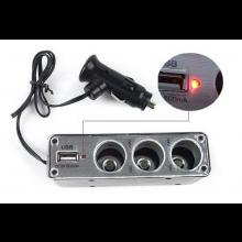 USB Hub 3x 12V autolader sigarettenaansteker + 1x USB aansluiting / 60Watt