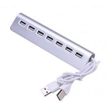 USB 2.0 Hub Station met 7x USB aansluiting / Zilver / HaverCo