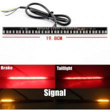 Knipperlicht en remlicht strip voor motorfiets / 19.8 cm breed / Rood remlicht + Gele knipperlichten / LED