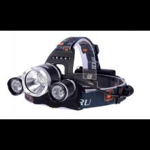 Hoofdlamp looplamp 3x Cree T6 XPE led / Op accu / Inclusief lader en sigaretten adapter