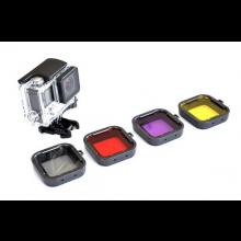 Set van 4 filters voor Actioncam (voor GoPro HERO 3+ en 4) / Grijs Rood Paars Geel / HaverCo