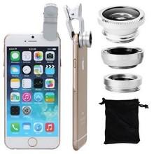 Set van 3 lenzen Fisheye Lens + Macro Lens + 0.67x Wide Lens voor telefoon (iPhone, Samsung, etc) met Clip