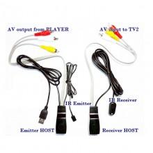 AV video audio extender via CAT5e/6 ethernet kabel met Infrarood repeater en USB power / HaverCo