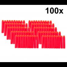 100x Kogels voor Nerf series Blasters Nerf bullets 7.2x1.2cm / Rood / HaverCo