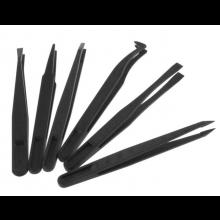Set pincetten tweezers van plastic 6 stuks in verschillende maten / Anti-statisch & hittebestendig