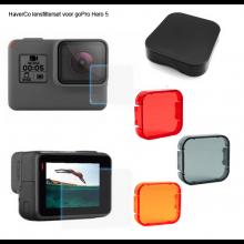 Lens filters set voor GoPro Hero 5 / HaverCo / 3x kleurfilter + 2x beschermingsfolie + 1x lenskap / Duikfilters