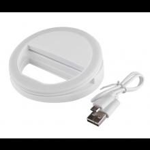 Selfie lamp voor op uw mobiele telefoon / LED Selfie Ring met USB laadkabel / Wit / HaverCo