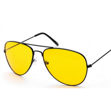 Nachtbril tegen nachtblindheid model Aviator bril HaverCo / Geelgekleurde lenzen met Zwart frame / Unisex