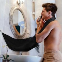 Baard scheren opvang doek met zuignappen aan spiegel Zwart / HaverCo