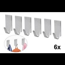 RVS haken 6x met plakstrip voor handdoek hanger haak 3.4x1.5cm Roestvaststaal / HaverCo