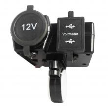 Motorfiets aansluiting voor 12V (sigaret + USB) met voltmeter / Universeel aan te sluiten / HaverCo