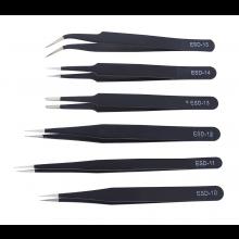 Set van 6 stuks metalen pincetten Pincet ESD RVS roestvaststaal anti-statisch / Verschillende maten / HaverCo