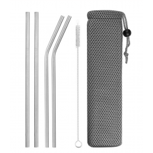 Set RVS rietjes 4 stuks + borsteltje om schoon te maken Stainless steel / HaverCo
