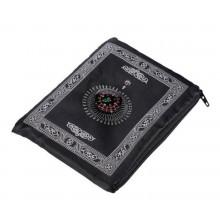 Gebedskleed reisversie in tasje met kompas 100x60cm / Zwart gebedsmat Sajada / HaverCo