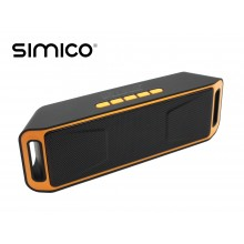 SIMICO SP1 Outdoor Bluetooth Speaker Oranje 1800mAh met USB-in en memorycard slot