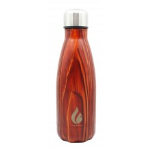 Waterfles 350ml RVS / Wood collection Mahogany / Thermofles Thermokan Isoleerfles / HaverCo