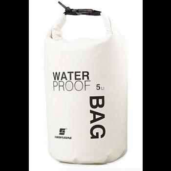 Waterproof tas wit met 5 liter inhoud voor outdoor / camping / sports / hiking / rafting