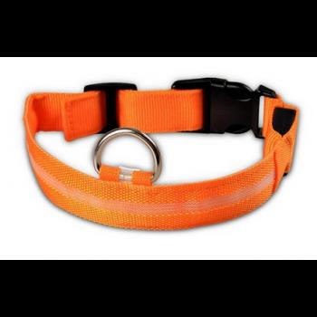 Hondenriem Halsband met ingebouwde LED verlichting en batterij / Oranje L-size / HaverCo